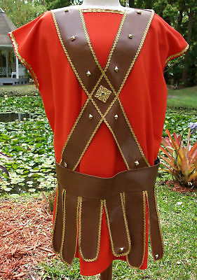 Easter Program 6 Pc Roman Guard Gladiator Costume w/Vinyl Strapping, Arm, Legpcs