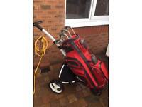 Golf clubs, Nike cart bag, powercaddy trolley £115