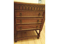 Antique Vintage 2 ft Heavy OAK OLD CHARM chest of 3 Drawers Small Narrow