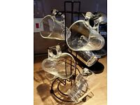 A set of six stylish espresso glass mugs