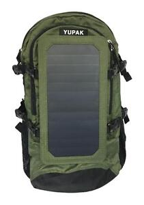 YUPAK Solar Panel Backpack with 7Watts Solar Panel & 10000 mAh Power Bank (Green)- Ship across Canada