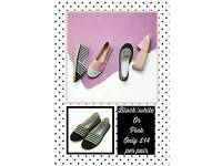 Gorgeous pumps come in black & white Or Pink. £14 per pair!