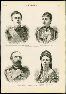 1881 - Antique Print GERMANY Royal Wedding Carlsruhe King Swden Baden   (066)