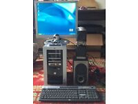 hp media center pc computer m587uk WITH speakers, wireless keyboard, mouse, monitor and webcam £125