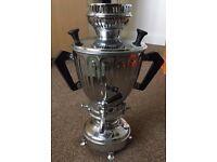 Old Antique Edwardian Silver Colour Samovar Tea Urn Engraved by Middle East Maker