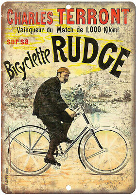 "Rudge Bicycle Charles Terront Vintage Ad 12"" x 9"" Retro Look Metal Sign B237"