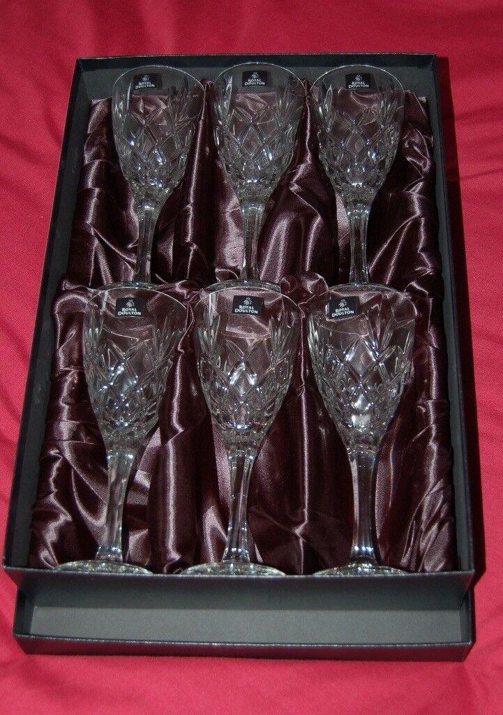 Royal Doulton. 6 Crystal Wine Glasses, in Presentation Box