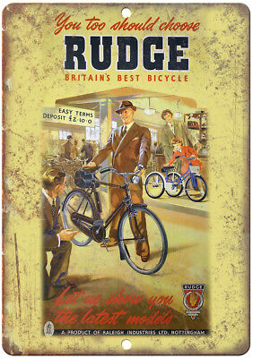 "Rudge Bicycle Raleigh Vintage Ad 12"" x 9"" Retro Look Metal Sign B222"