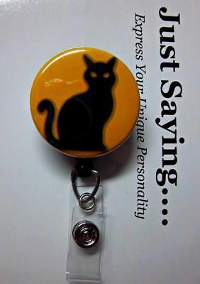 HALLOWEEN Classic Black Cat  LIMITED EDITION Retractable Reel ID - Halloween Badge Reels