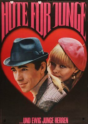 HUTE FUR JUNGE HATS Fashion Vintage Valentine's 1966 advertising poster 36x51 NM