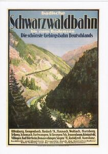 Railway-Poster-Art-Postcard-SCHWARZWALDBAHN-Black-Forest-Germany-German-Train