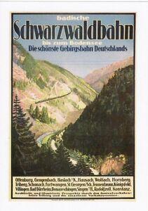 Railway-Poster-Art-Postcard-SCHWARZWALDBAHN-Black-Forest-Germany-German-Train