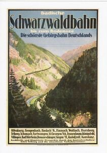 Railway Poster Art Postcard SCHWARZWALDBAHN Black Forest Germany German Train