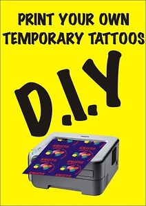 DIY Temporary Tattoo Paper 2 Sheets design your own hens nights, kids days out