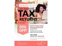 Self-assessment tax returns - Xmas deal 50% off - £99.00 fee - London and surrounding counties