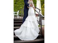 Pronovias white wedding dress size 8 with underskirt, belt, veil and bolero - very good condition