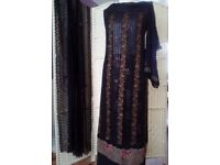 Ladies Embroidered 3 Piece Asian Suit with Lining (Black)