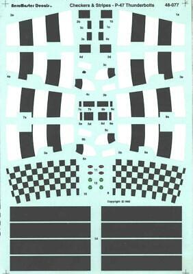 1:48 Stripes Checkers P-47 Thunderbolts AeroMaster Decal Sheet 48-077