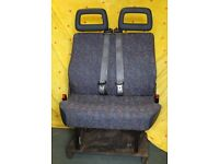 Dual Passenger Seat with Seat Belts for commercial vehicle or camper conversion