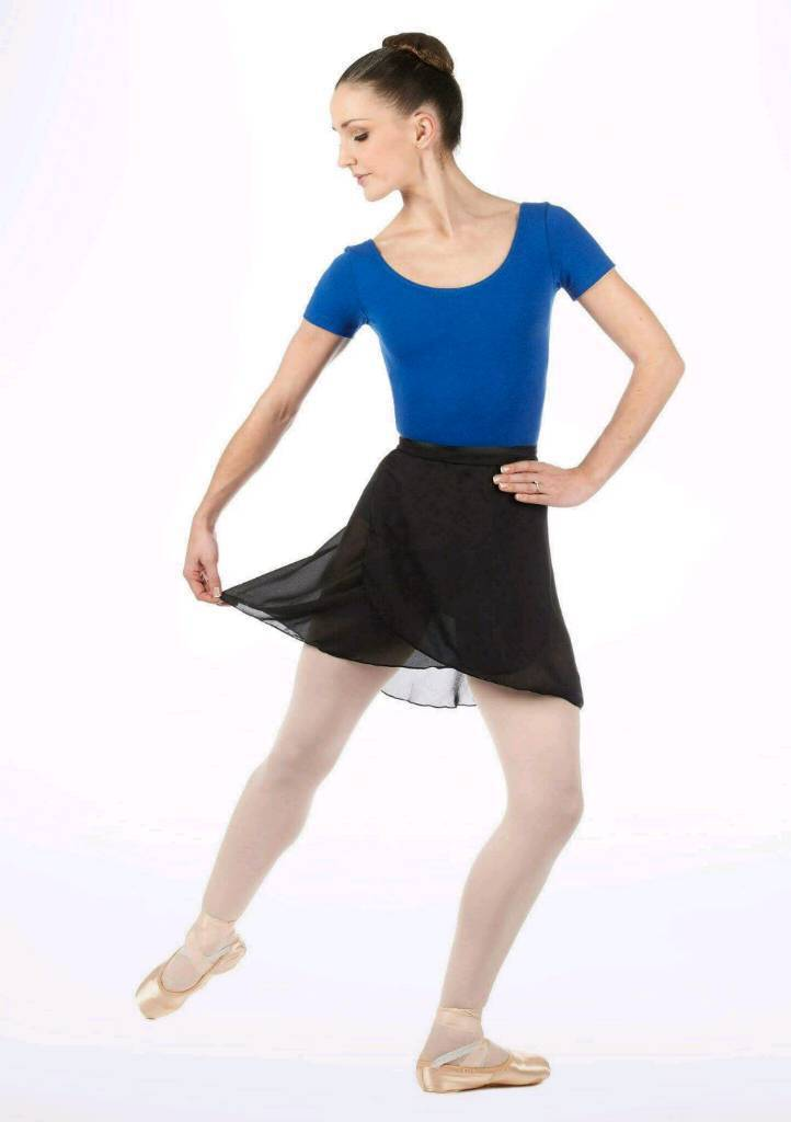 CAPEZIO BLACK FULL SWEEP WRAP GEORGETTE BALLET SKIRT - ADULT ONE SIZE - BRAND NEW WITH TAGS