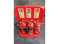 3 fires extinguishers with stand