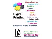 Printing, Order of Service, Lamination, Leaflets, Large Format Printing, other design services also