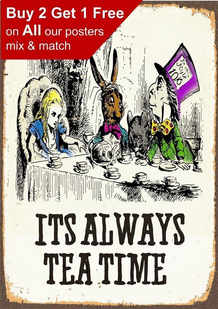 Alice In Wonderland - Its Always Tea Time Poster Vintage Print