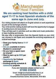 Host Family wanted this July to host 11-17yr old / possible trip to Spain offered