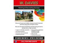 W Davies Painter / Decorator, All Aspects Of Painting And Decorating.
