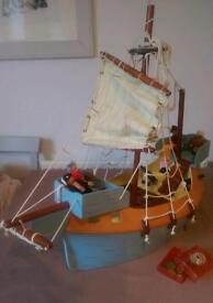 Toy wooden pirate ship