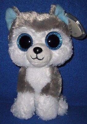 Ty Beanie Boos Boos   Slush The 6  Husky Dog   Mint With Mint Tag   Glitter Eye