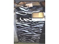 ZEBRA PATTERN KONICA MINOLTA BIZHUB C454 Photocopier / printer with Finisher for a funky office