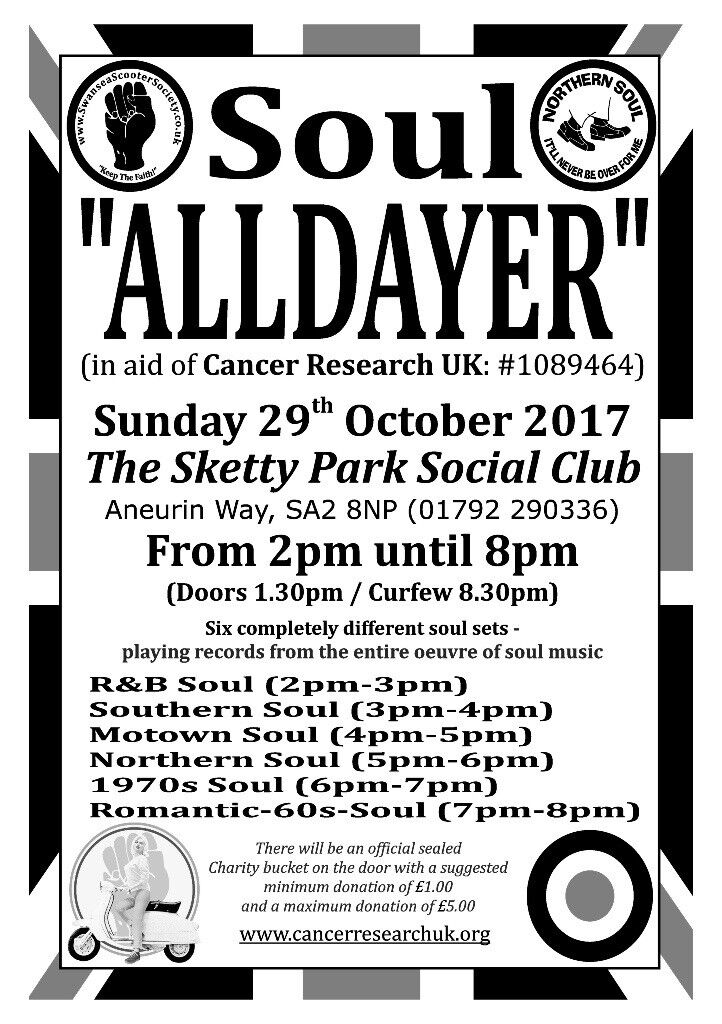 Charity Soul Alldayer (in aid of Cancer Research UK)