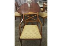 Reproduction Oval dining table mahogany and 6 reupholstered chairs