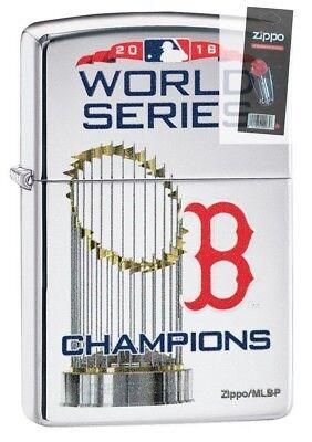 Boston Red Sox Zippo Lighter (Zippo 8911 Boston Red Sox 2018 World Series Champions Lighter + FLINT)