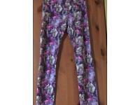Purple space unicorn leggings