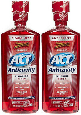 Act Alcohol Free Cinnamon Anticavity Fluoride Rinse 18 fl oz (532 ml)(2 Bottles) Act Anticavity Fluoride Rinse Alcohol Free