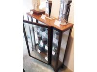 Small Brown Vintage Antique Wooden Glass Cabinet
