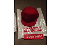 Brand New Supreme Wrap Cap Front Back Logo Red Snapback