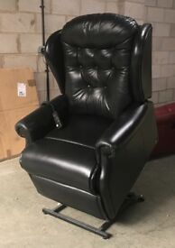 Sherborne Black leather Chesterfield rise recliner chair can deliver