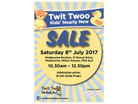 Twit Twoo Kids' Nearly New Sale Sat 8th July in Medbourne, Milton Keynes