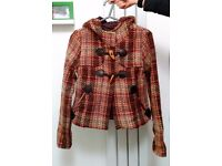 Pull & Bear hooded checked duffle coat jacket - size S (8-10)