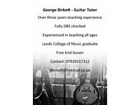 Experienced guitar tutor based in Roundhay, Leeds - free trial lesson.