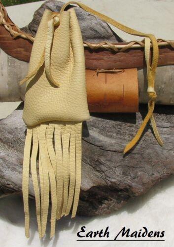 "Deer Leather Medicine Bag 4""h x 2 1/2""w Cherokee made William Lattie Cert Auth"
