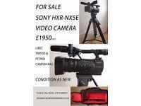Sony HXR -NX5E professional video camera, Petrol camera bag and Libec tripod. Condition as new.