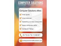 Computer Solutions Torbay - Virus removal - Computer setup - Computer speed-up