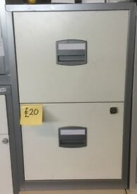 White Grey Filing Cabinet A4 Size H66cm x W40cm x D40cm Home Office Study 1 Lockable Drawer