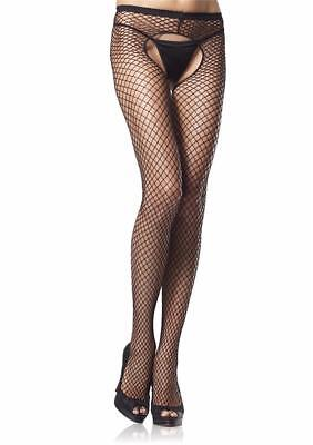 SPANDEX CROTCHLESS INDUSTRIAL NET Wide Fishnet Pantyhose BLACK O/S & PLUS (Wide Fishnets)