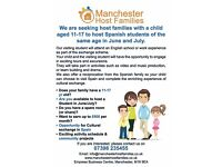 Host Family with child aged 11-17 yrs wanted to host Spanish student of same age student exchange