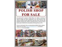 Polish Shop For Sale / Polski Sklep na Sprzedaz